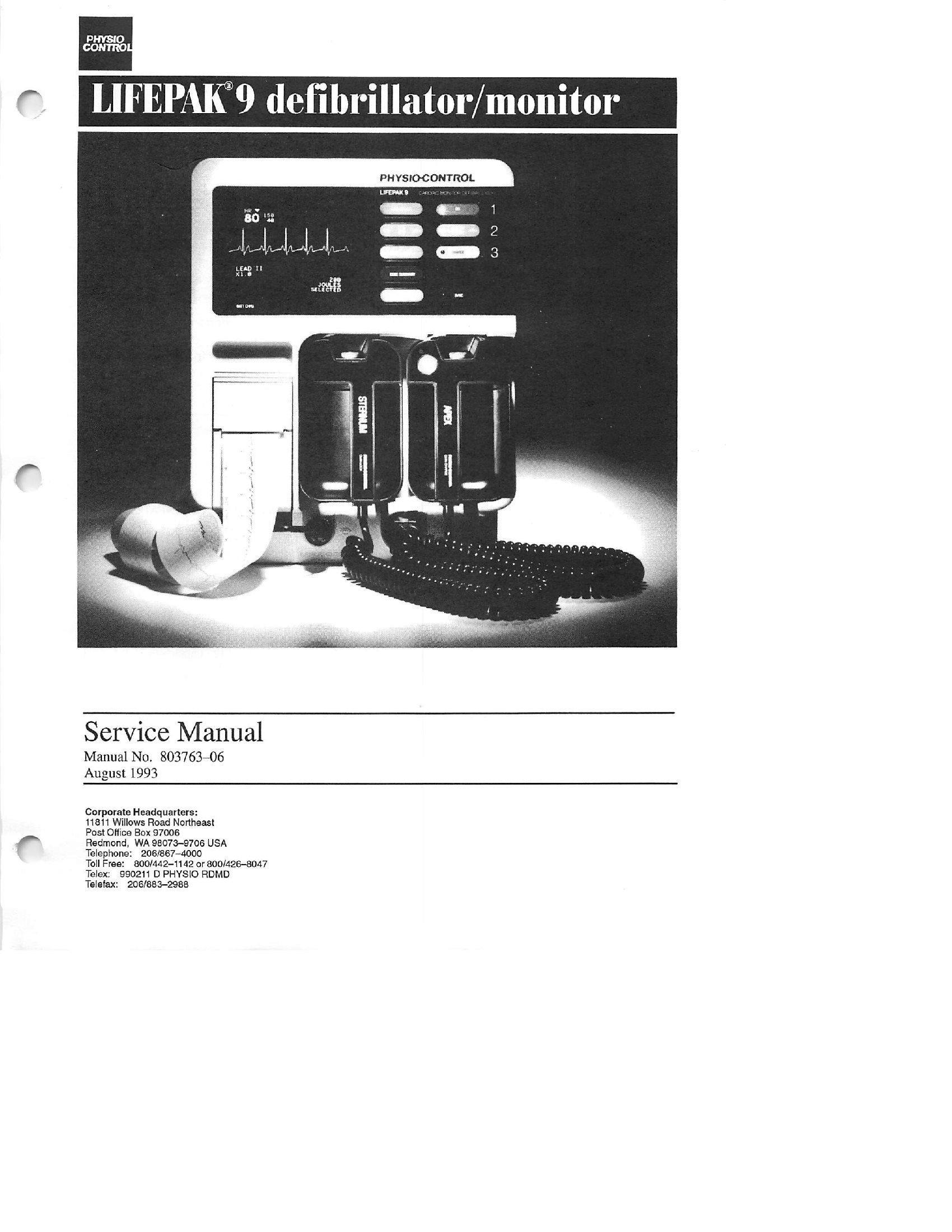 Physio Control Lifepak 9 Service manual