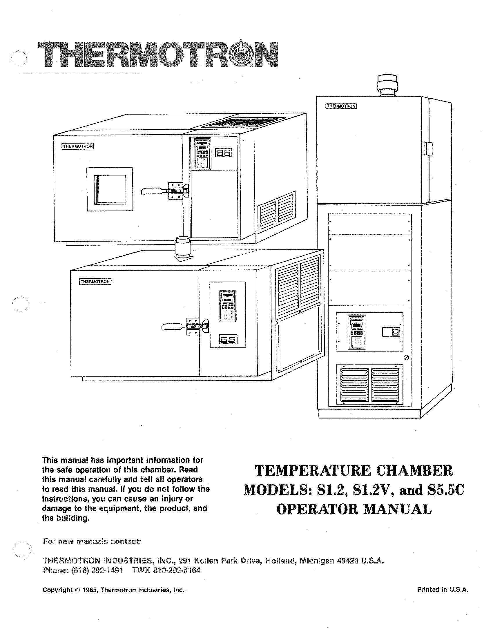 Thermotron temperature chamber models s1. 2, s1. 2v,s5. 5c controller.